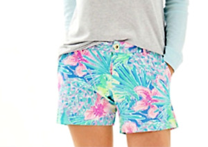 "LILLY PULITZER Callahan Knit Stretch 5"" Shorts Multi Swizzle In  Blue Green Pink"
