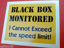 BLACK BOX MONITORED Young Driver Car Insurance Warning Sticker Decal 1 off 100mm