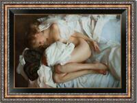 """Hand painted Original Oil Painting art Portrait nude girl bed on Canvas 24""""x36"""""""