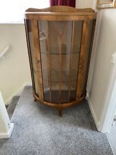 Vintage Antique bow fronted walnut veneered china Display cabinet with key 1930s