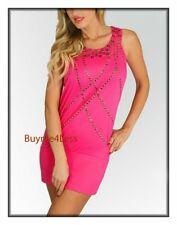 Hot Pink Sexy Clubwear Studded Jersey Cocktail Sunny mini Tank Tunic Dress S L