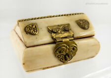 Antique Souvenir Bovine Cow Bone Trinket Jewelry Box Jerusalem Middle East