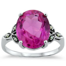 7 CT PINK LAB SAPPHIRE ANTIQUE VICTORIAN STYLE .925 STERLING SILVER RING ,  #237