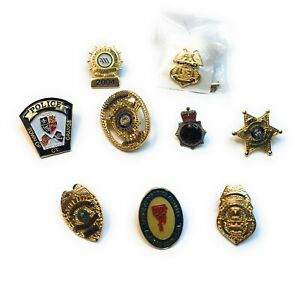 Lot Of 9 Police Department Hat & Lapel Pin Tie Tac
