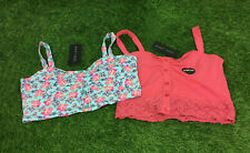New Look Size 10 Set Of 2 Bralet Crop Tops Buttons Floral Print BNWTS