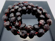 Natural Gemstone Red Garnet Rose Cut Nugget Matte Finish Knotted Bead Strands