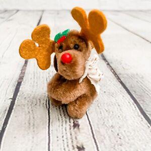 Vtg 1984 Dakin Plush Moose Reindeer Pencil Pen Finger Hugger Gripper Christmas