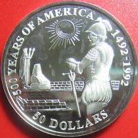 1992 COOK ISLANDS $50 SILVER PROOF DIEGO ALMAGRO SPANISH CONQUEROR OF PERU RARE!