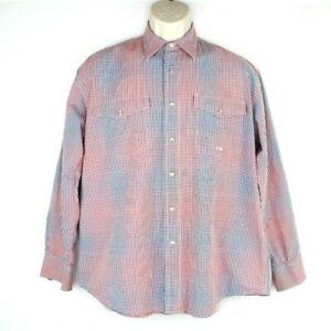 Vintage Roper Men's Western Pearl Snap Button Up Long Sleeve Shirt Size Medium