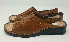 Walk Easy Ladies UK 6 Tan Leather Mules Sling Back Low Wedge Cut Out Stitching
