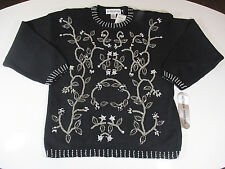 Vtg VICTORIA HARBOUR Sweater Sz L Large Womens Black Embellished Seed Beads NWT
