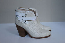 6.5 36.5 rag & bone Harrow Embossed White Leather Cap Toe Ankle Heel Bootie Shoe