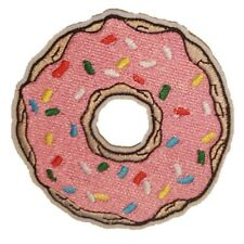Pink Donut Iron On Patch Sew on Embroidered transfer Homer Simpson Doughnut