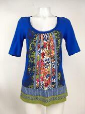 Akemi + Kin Anthropologie Royal Blue Floral Print Open Back Top Size XSmall