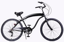 "Fito Modena Sport II SHIMANO 7-speed Men 26"" Beach Cruiser Bike All Matte Black"