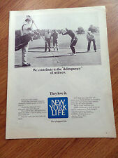 1970 New York Life Insurance Ad We Contribute to Delinquency of Retirees Golfing