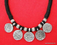 ANTIQUE ETHNIC TRIBAL OLD SILVER BEADS NECKLACE PENDANT AMULET MUGHAL COIN INDIA