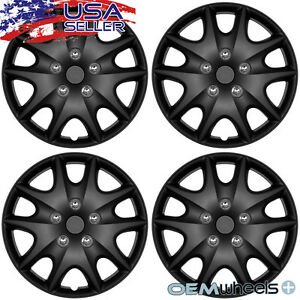 "4 New Matte Black 15"" Hub Caps Fits Saturn SUV Car Steel Wheel Covers Set Hubcap"