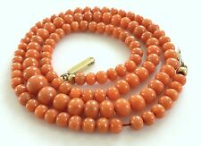 """Vintage Natural Salmon Red Carved Coral Bead Necklace 22"""" Graduated Antique"""
