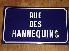 Original Vintage French Enamel Street sign Rue Des Hannequins 50 x 30cms