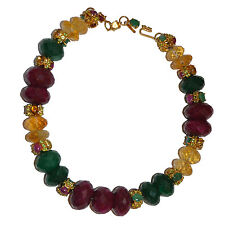 JARIN Gold Plated Sterling Necklace with Ruby, Green Quartz & Citrine Beads