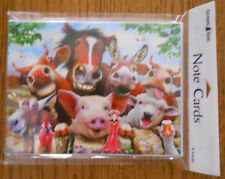 8 Leanin Tree Note Cards FARM ANIMALS SMILING SELFIES, Cow,Horse,Pig,Sheep,Goat