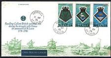FDC AH58 St Lucia 1976 FDC warship Pelican 3v
