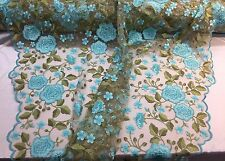 AQUA FRENCH FLOWER GARDEN EMBROIDER WITH MULTI COLORS ON A MESH-SOLD BY THE YARD