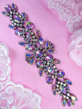 XR163 Black Backing Aurora Borealis Crystal AB Rhinestone Applique Embellishment