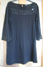 BLACK 3/4 SLEEVED TOP WITH BEADED TRIM ON NECKLINE AND SLEEVE CUFFS - SIZE 14
