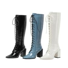 Women Knee-high Boots High Heel Patent Leather Fashion Square Toe Side Zip Shoes