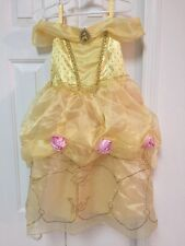 Disney Store Princess Belle Costume Dress Girl Size 4 Yellow Ball Gown Roses