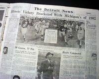 ILLINOIS FIGHTING ILLINI College Football Rose Bowl Victory Photo 1947 Newspaper