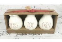 Rae Dunn Christmas Vases Merry Joy Cheer Farmhouse Xmas Set Of 3 *NEW* LL Red