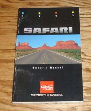 Original 1993 GMC Safari Owners Operators Manual 1st Edition 93