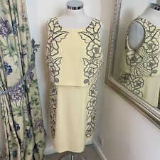 Karen Millen Size 16 yellow embroidered smart party occasion work career dress