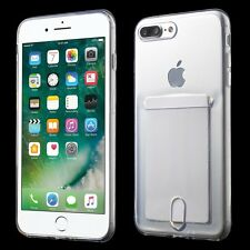 For iPhone 7+ Plus - RUBBER SKIN CASE TRANSPARENT CLEAR CREDIT CARD SLOT HOLDER