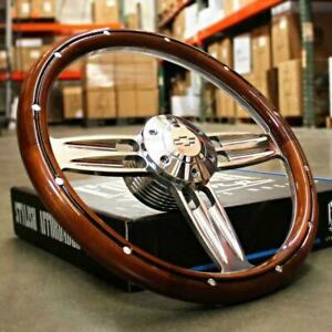"Beautiful Mahogany and Billet Double Barrel 14"" Steering Wheel with Chevy Horn"