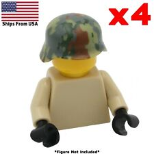 LEGO WWII Helmet Green Camo Stahlhelm Printed 4 Pack Army Soldier Military Lot