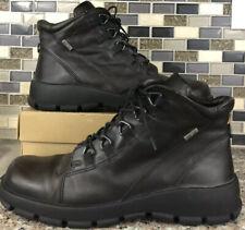 ECCO Mens Leather Boots Brown Size 8 Gore Tex Waterproof Aggressive Latex Tread