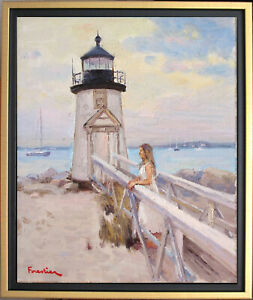 BRANT POINT LIGHT, NANTUCKET~LISTED ARTIST~ORIGINAL OIL PAINTING MARC FORESTIER