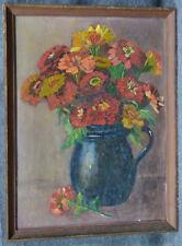 Ölbild, Stillleben, Vase mit Blumen, etwa 1870