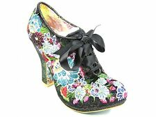 High Heel (3-4.5 in.) Block Lace Up Floral Boots for Women
