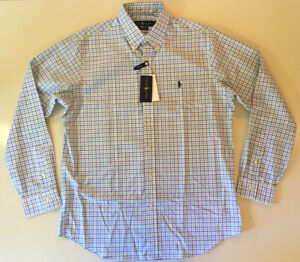 Polo Ralph Lauren Stretch Classic Plaid Collar Button Casual Dress Shirt Large
