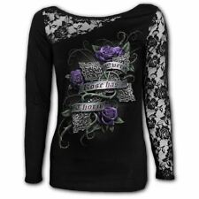 Spiral Every Rose Lace One Shoulder Long Sleeved Top