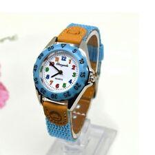 Girls Children's Kids Quartz Watch Wristwatch Cute Fabric Strap Sky Blue