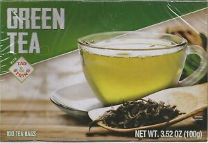 PURE Green Tea With Tag & String & Zero Calories 100-Count Tea Bags EXP 06/23