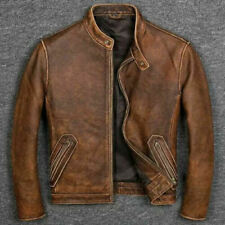 Men's Biker Cafe Racer Vintage Motorcycle Distressed Tan Brown Leather Jacket