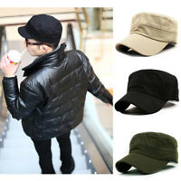 Classic Plain Vintage Army Military Cadet Style Cotton Cap Adjustable Sport Hat
