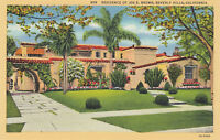 Linen Postcard ca1940s A095 Residence of Joe E. Brown Beverly Hills California